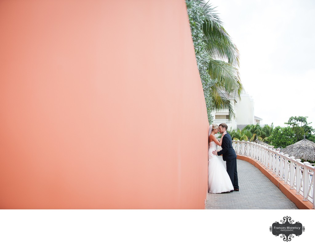 Wedding Portrait with Orange Wall:  Jamaica Destination