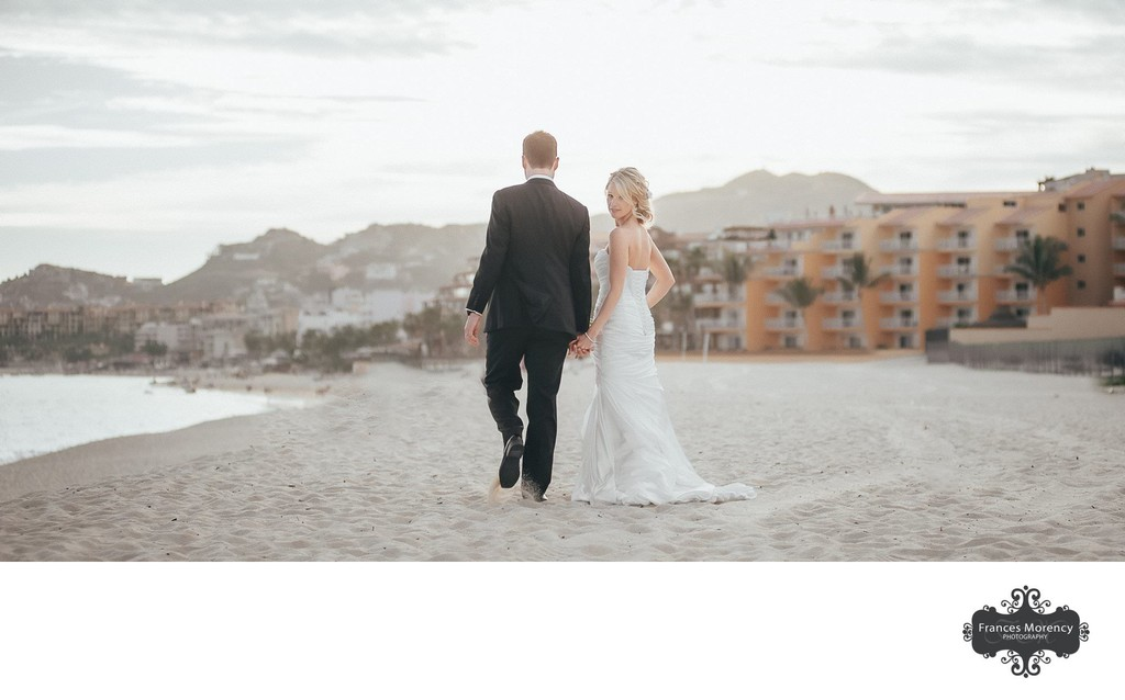 Bride Walking on Beach: Mexico Destination Wedding