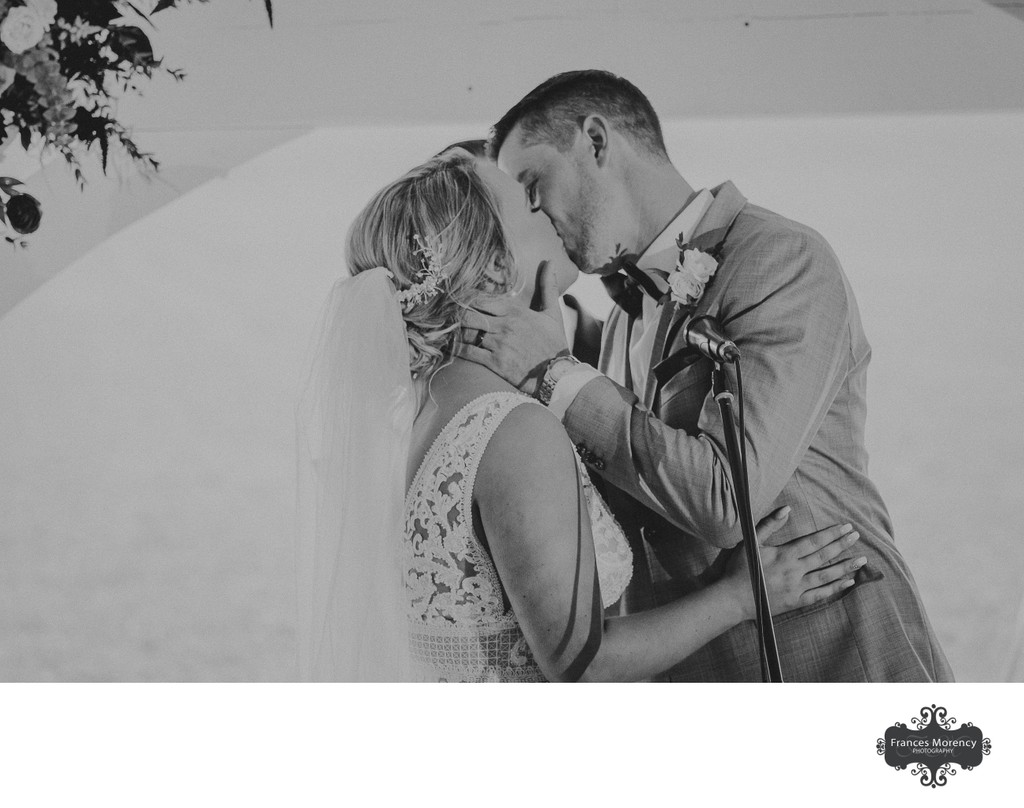 First Kiss at Ceremony:  Markdale Wedding Photographer