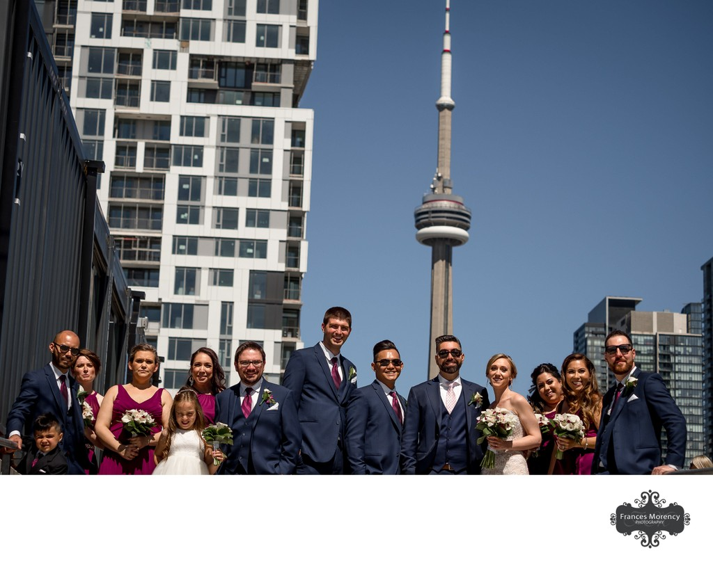 Wedding Party Photos with CN Tower:  Toronto Photographer