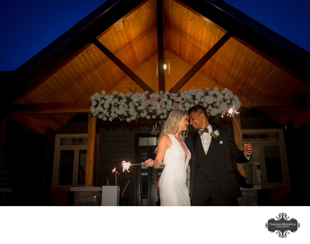 Sparkler Exit with Blue Sky at Muskoka Wedding