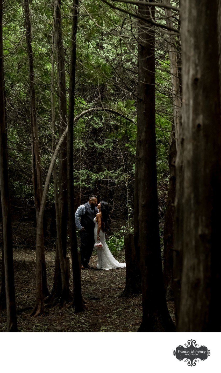 Bride Groom in the Woods:  Millcroft Inn Wedding Photo