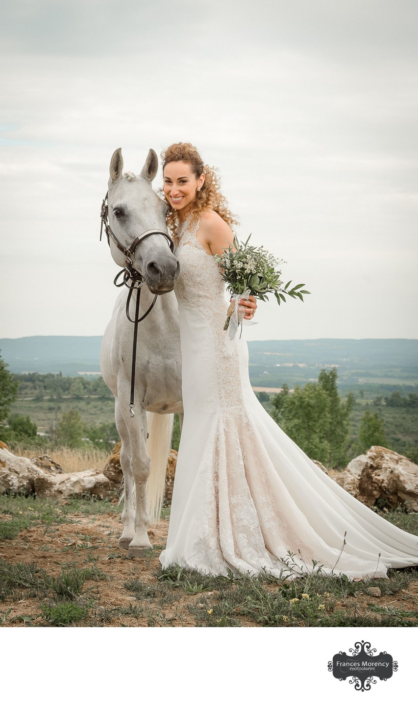 Bride Portrait with Horse:  Thornbury Wedding Photo