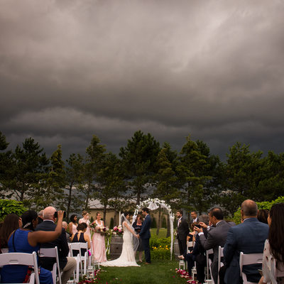 Ceremony Picture:  Storm Looming at Rockway Vineyard