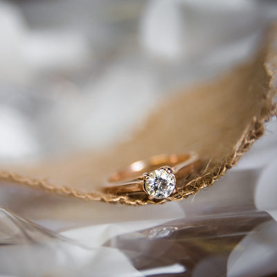 Ring Photo on Straw Ribbon and Metallic Paper