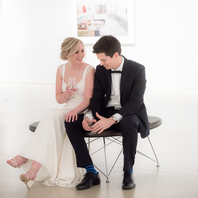 Unposed Portrait of Bride and Groom at Hamilton Gallery