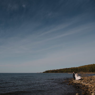 Serenity Cottage  Bride and Groom Waterfront Portrait