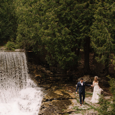 Millcroft Inn Waterfall Portrait at Spring Wedding