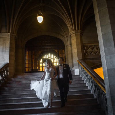 Wedding Couple Walking Down Stairs:  Toronto Knox College