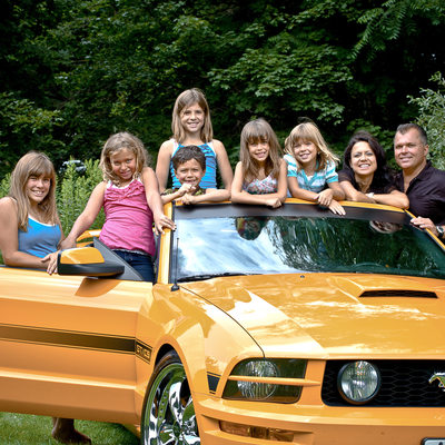 Owen Sound Family Photography in Yellow Mustang