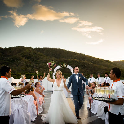 Costa Rica Rooftop Sunset Wedding Ceremony Happiness