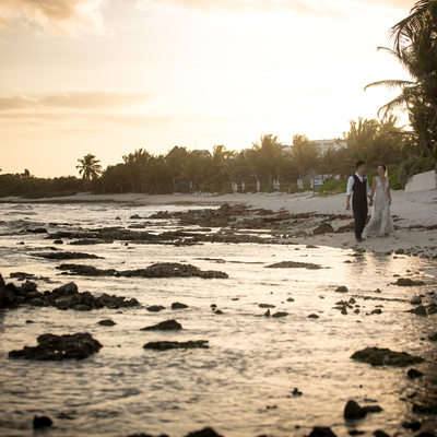 Best Mexico Destination Wedding Photographer at Sunset