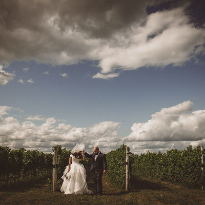 Veil Flying on Bride: Adamo Estate Winery