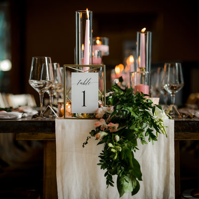 Table Decor at Adamo Estate Winery Wedding