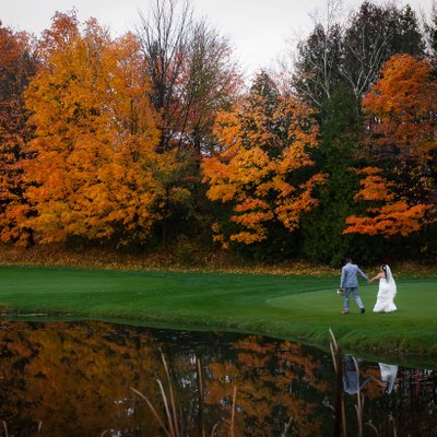Portrait with Orange Trees:  Deer Creek Golf Wedding