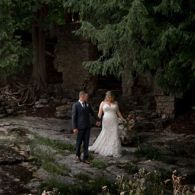 Millcroft Inn & Spa  Wedding Portrait by Waterfall