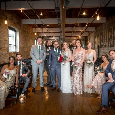 Wedding Party Photos Indoors at The Burroughes Building