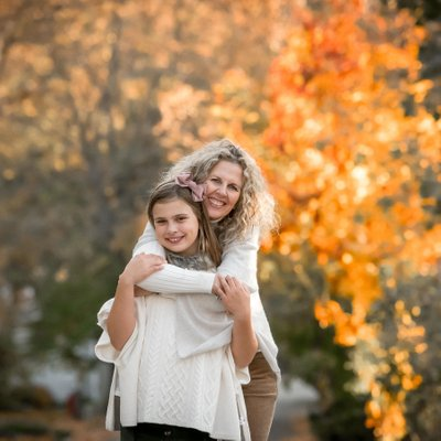 Mother Daughter Portrait with Fall Colours