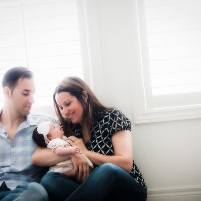 Mom and Dad with Newborn:  Window Light Photographer