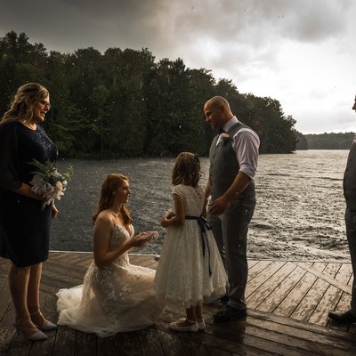 Stormy Dock Ceremony: Muskoka Wedding Photographer