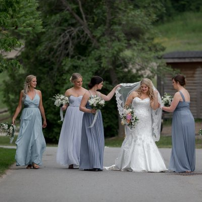 Walking Bridesmaids Pictures in Blue Mountain Village