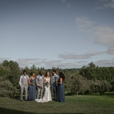 Midland Unposed Wedding Photo of Bridal Party