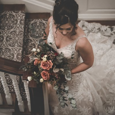 Bride Portrait on Stairs:  Graydon Hall Manor Wedding