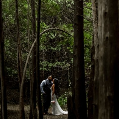 Wedding Couple in the Woods:  Millcroft Inn Wedding Photo