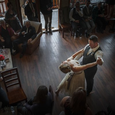 First Dance Photo in Rustic Venue