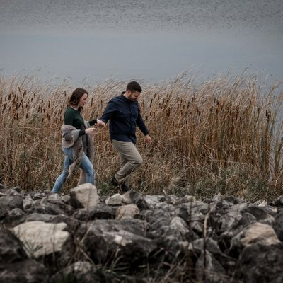 Island Lake Engagement Photos in the Fall