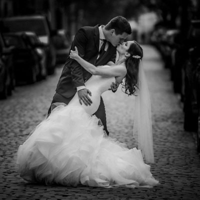 Couple Dip on Street:  Toronto Wedding Photographer