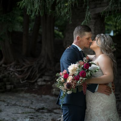 Kissing by the Stone Ruins at The Millcroft Inn & Spa