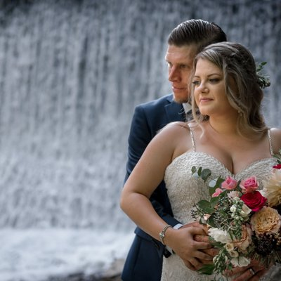 Wedding Portrait by Waterfall at The Millcroft Inn