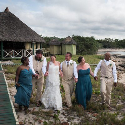 Wedding Party Walking:  Cayo Coco Destination Photographer