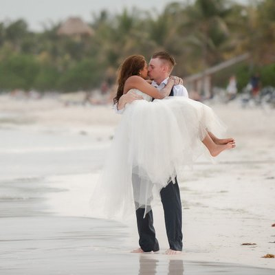 Groom Carrying Bride:  Mexico Destination Wedding