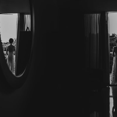 First Look in Hotel:  Mexico Destination Wedding Photo