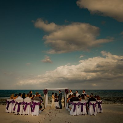 Beach Ceremony:  Mexico Destination Wedding Photography