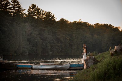 Couple Walking on Dock at Grand Tappatoo Wedding