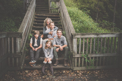 Mono Cliffs Fall Family Photos with 3 Children