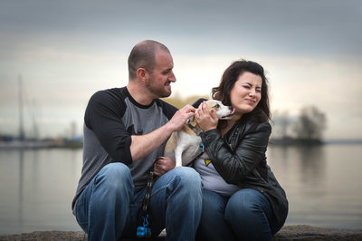 Collingwood Wedding Photographer at Waterfront with Dog