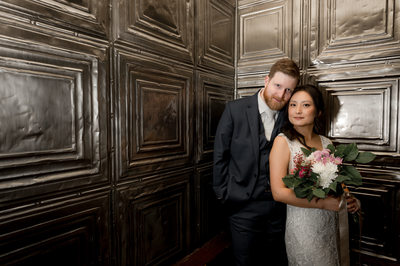 Ancaster Mill Wedding Portrait Indoors in Tin Hallway