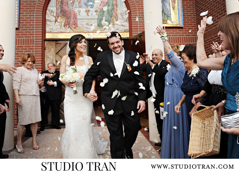 New Orleans Greek Wedding Flower Petal Exit