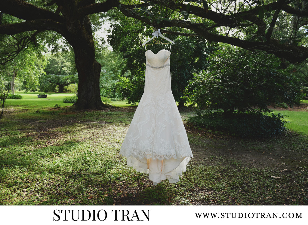 Brides dress hanging under the oak trees