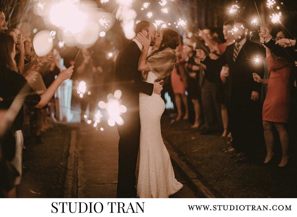 Maison Lafitte Mandeville Sparkler Exit Wedding Photographer