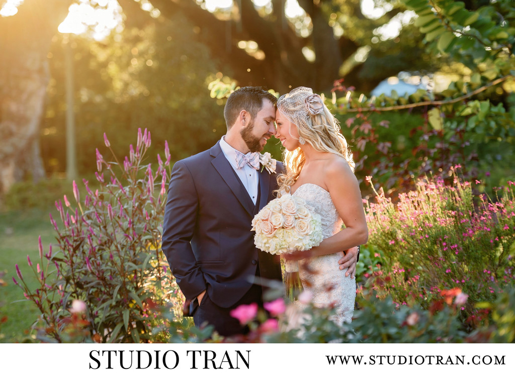 Romantic Sunset Botanical Gardens Wedding Photographer