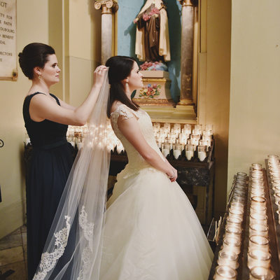 St. Louis Cathedral Bride and Veil Photography