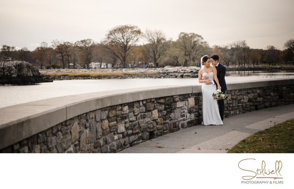 Bride and Groom Glen Island Harbor Club Wedding Photography