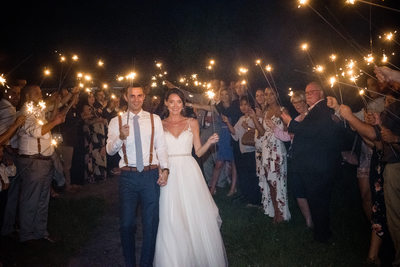 Sparkler Exit Red Maple Vineyard Wedding