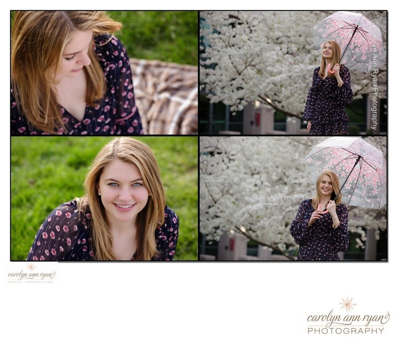 Spring Cherry Blossoms Senior Portraits Charlotte