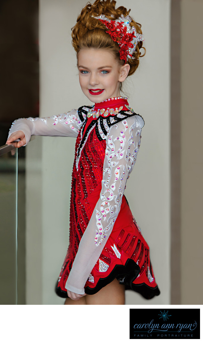 Irish Dancer Wearing Custom Taylor Dress